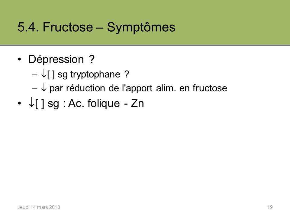 5.4. Fructose – Symptômes Dépression [ ] sg : Ac. folique - Zn